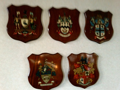 Merseyside council's coats of arms at Merseytravel committee room