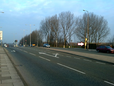 Compton Road/Hoylake Road bus stop from North side of Hoylake Road, Bidston