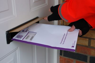 Census 2011 in post and on way (picture of being delivered to a letterbox)