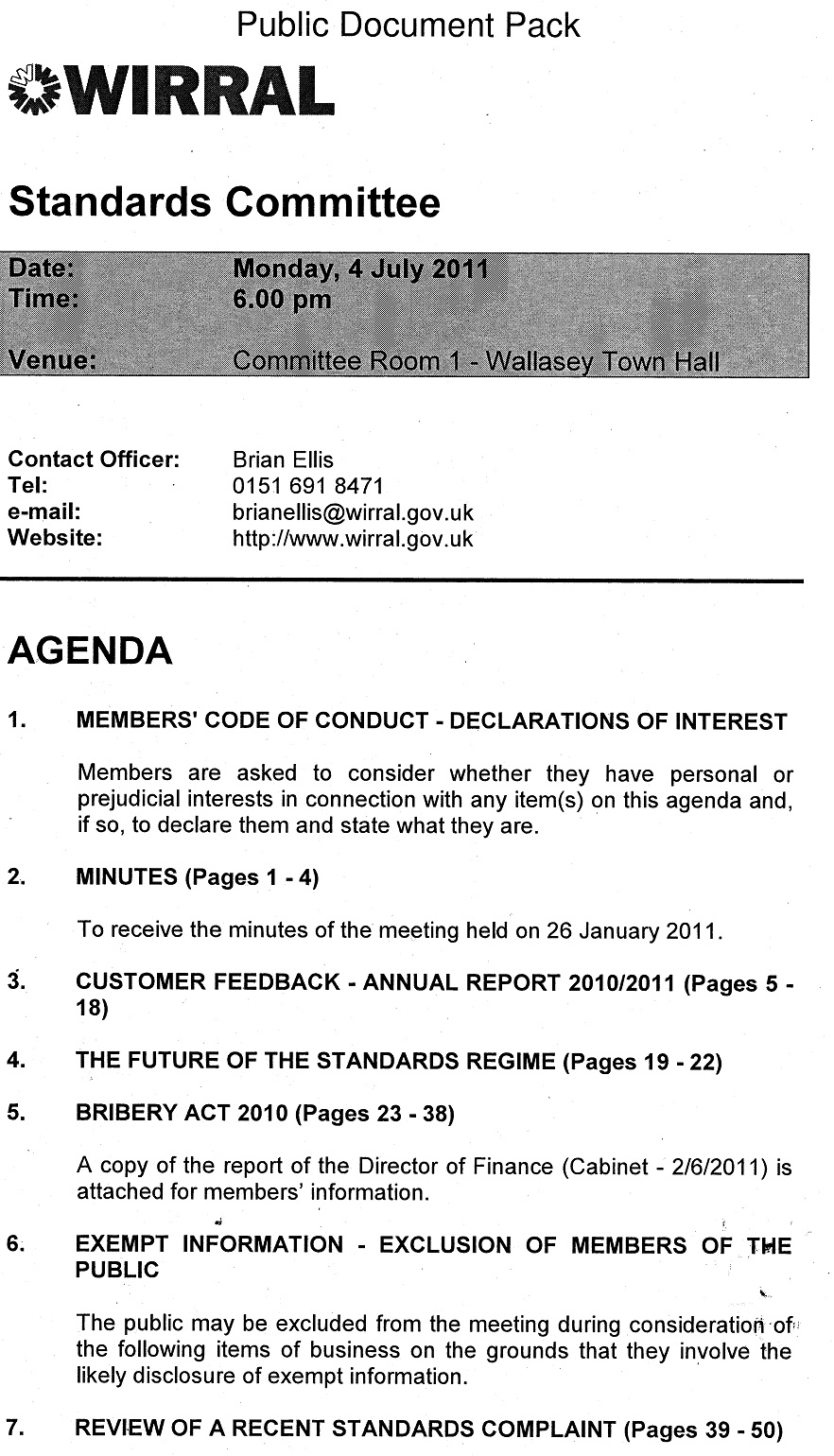 Standards Commitee Agenda 6th July 2011