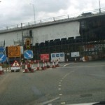 Roadworks at the Bidston Moss Viaduct