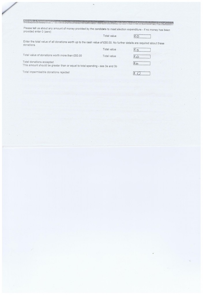 Election Expense Barbara Sinclair Page 3 Claughton Wirral Council 2011 Section 4 Donations