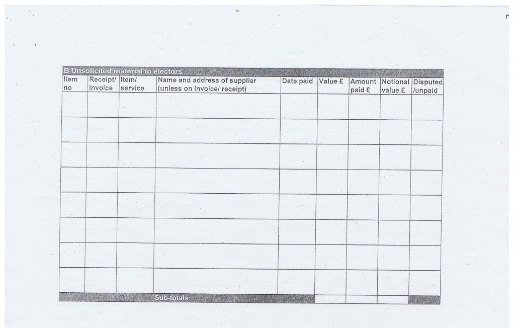 Election expense Steve Foulkes page 5 Claughton Wirral Council 2011 B Unsolcited material to electors