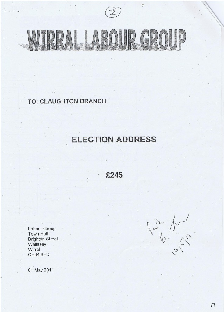 Election Expense Steve Foulkes Wirral Labour Group Election Address £245 (Claughton ward) Wirral Council 2011