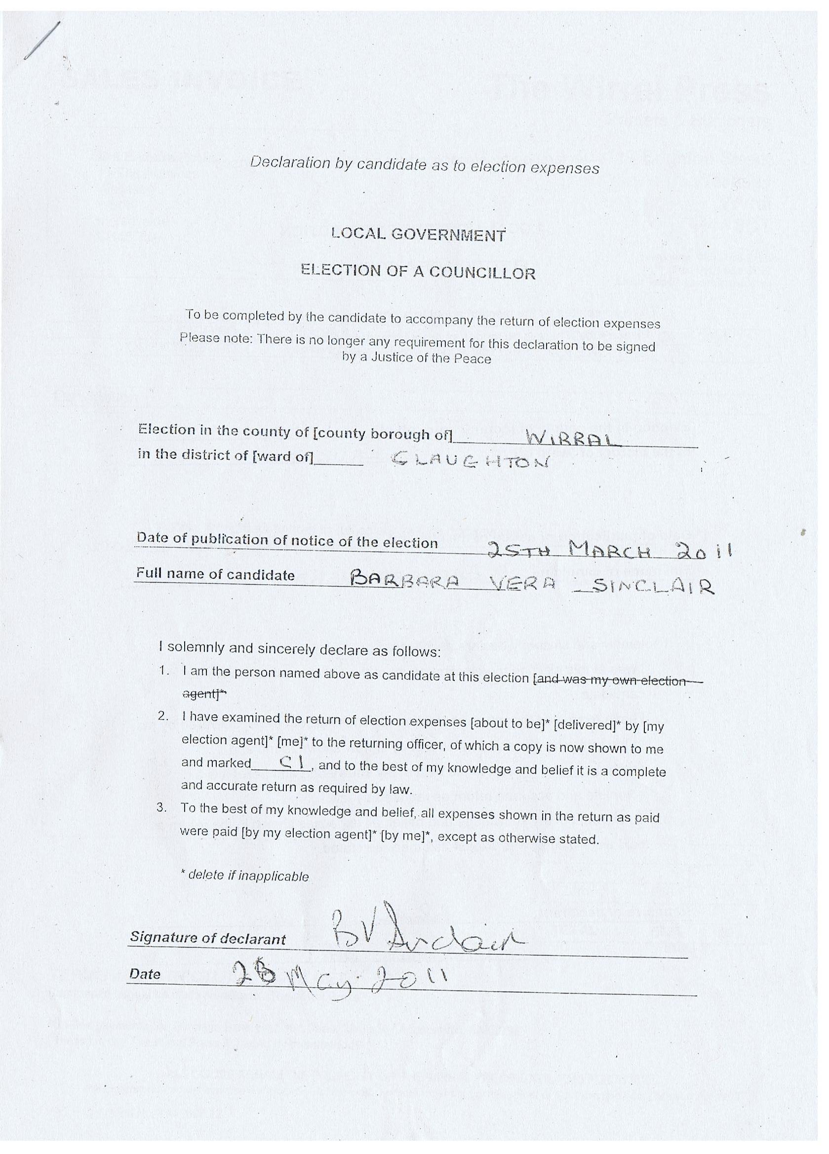 Candidate Declaration (Barbara Sinclair) Claughton ward 2011 Wirral Borough Council agent: Barbara Poole