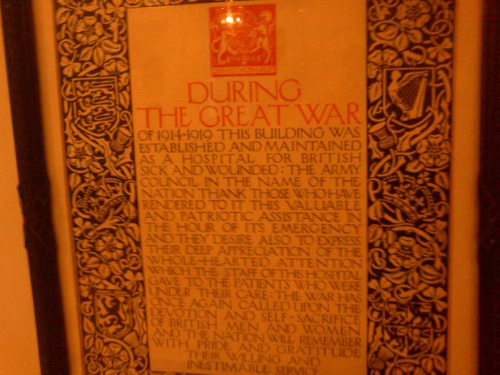 A plaque at Wallasey Town Hall (lobby) about its use during WWI