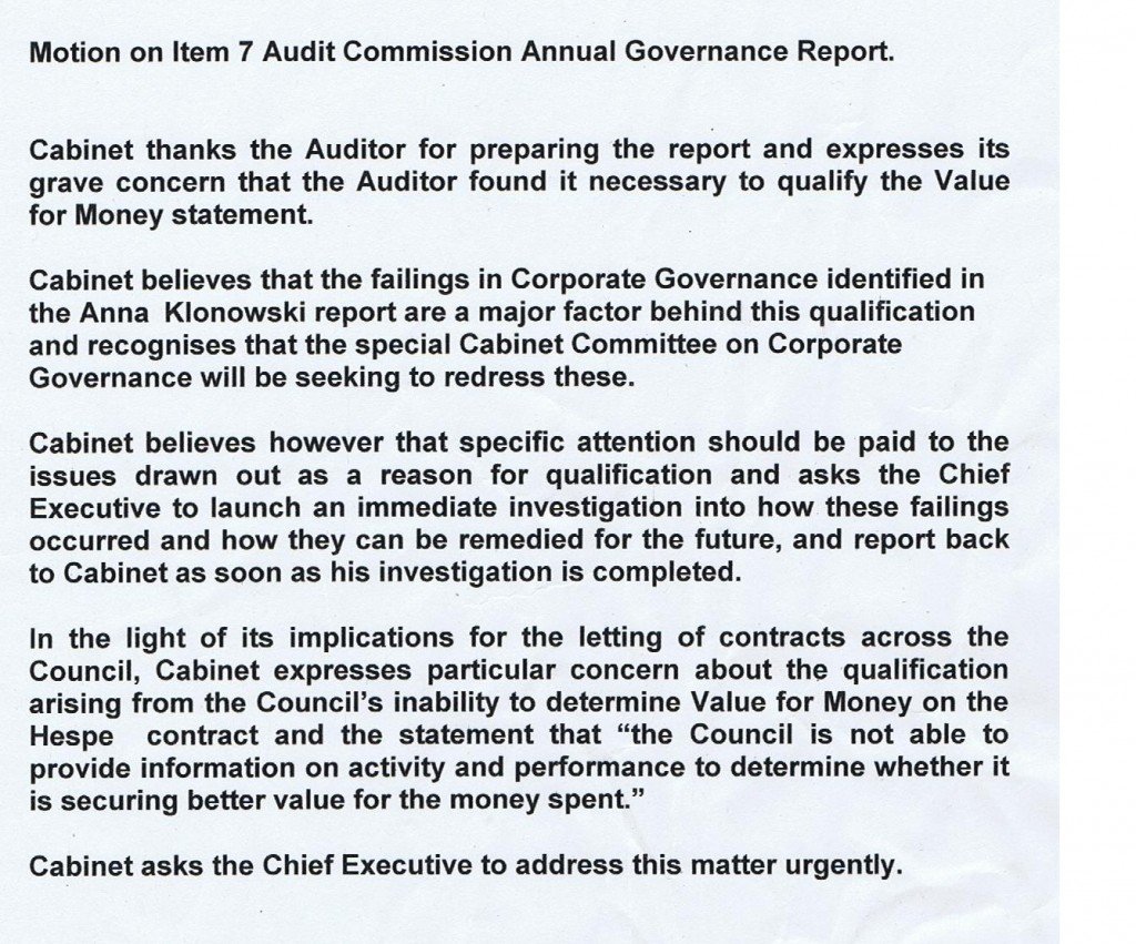 Motion Item 7 Wirral Council Cabinet 13/10/2011