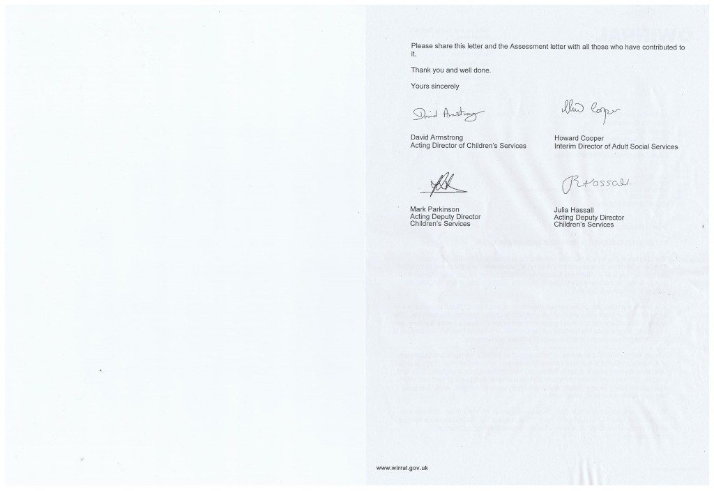 Letter Children and Young Peoples Dept (Cabinet Nov 2011) Page 2/2