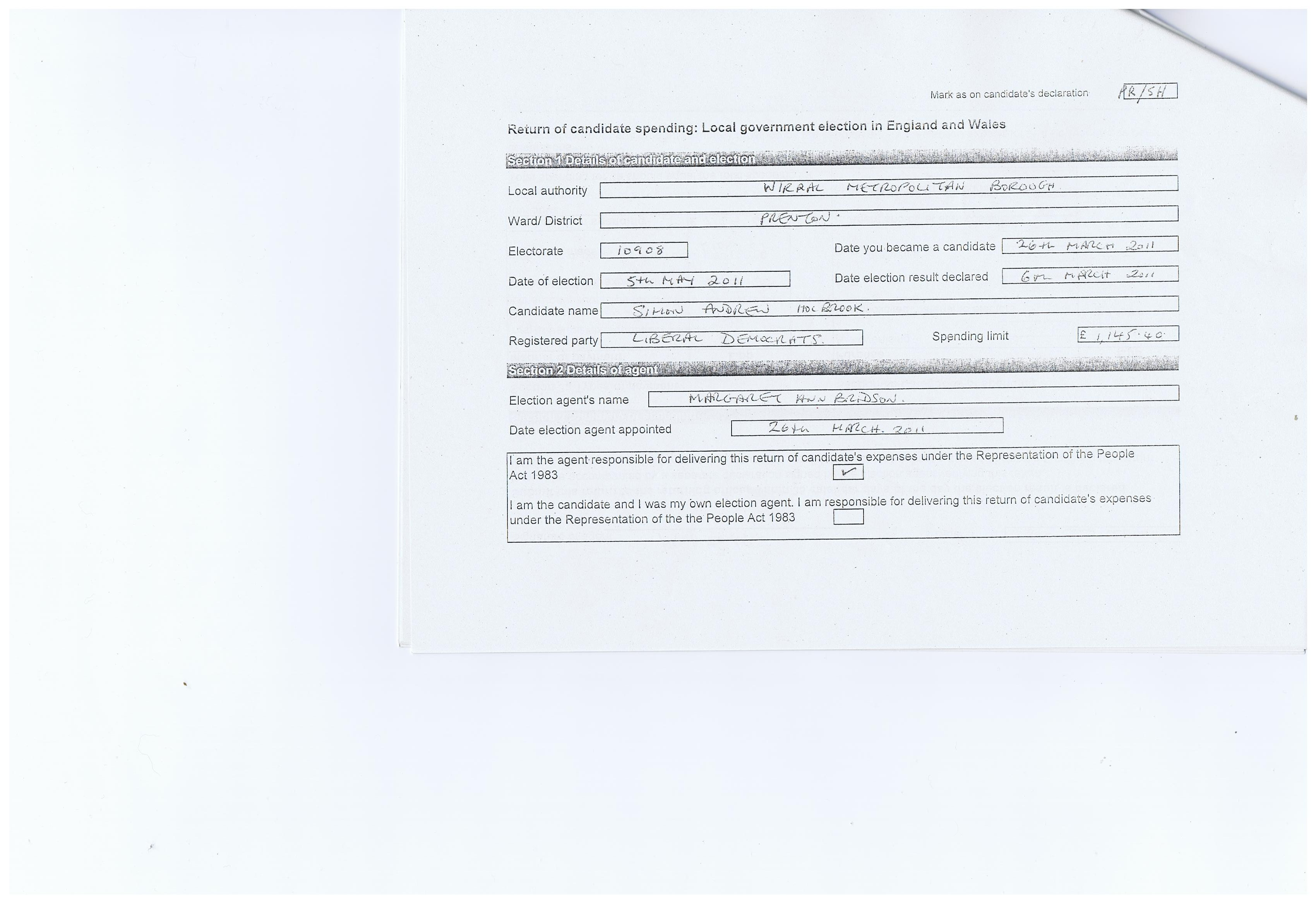 Election Expenses Candidate Simon Holbrook Agent Cllr Margaret Ann Bridson Wirral Council Prenton Ward May 2011 Page 3 of 18