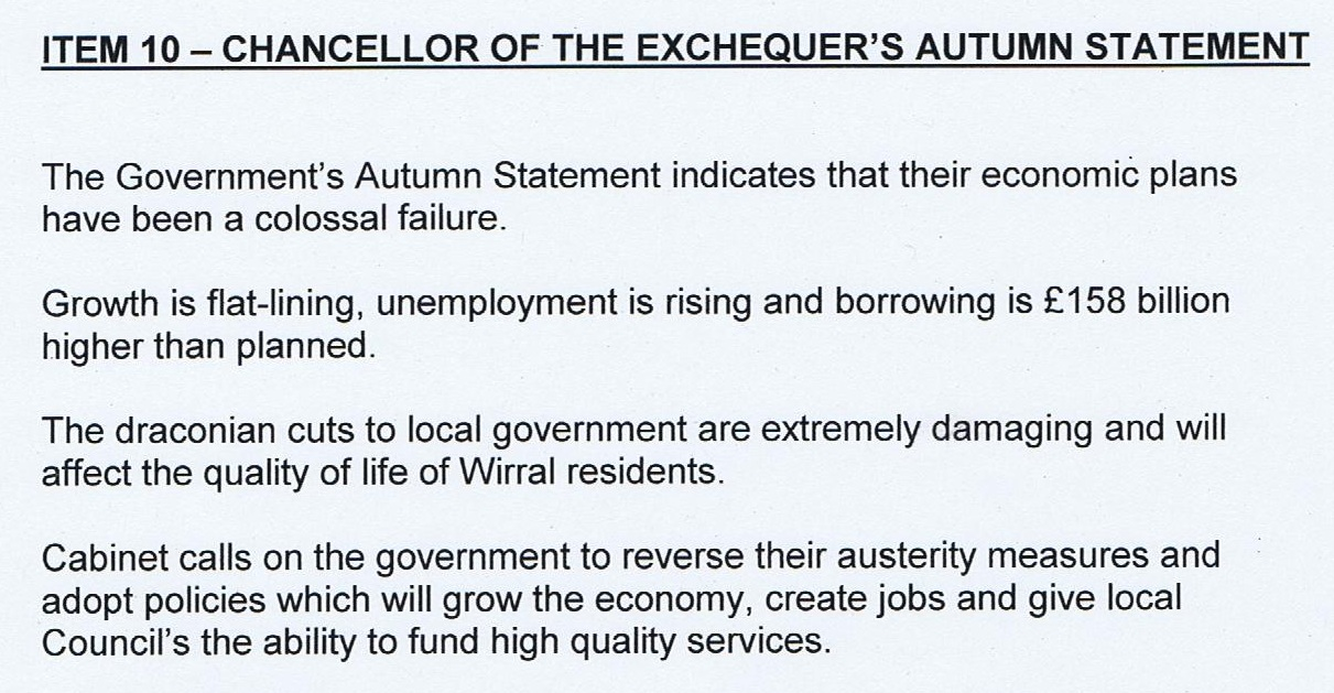 Autumn Statement (motion on item 10) Wirral Council Cabinet meeting of 8th December 2011