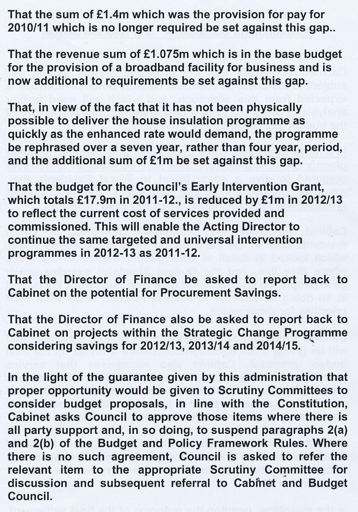 Project Budget Motion (Wirral Council) Cabinet 8th December 2011 Page 2 of 2