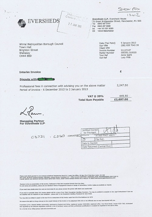 Wirral Council legal invoices page 19 Volker Laser Eversheds LLP