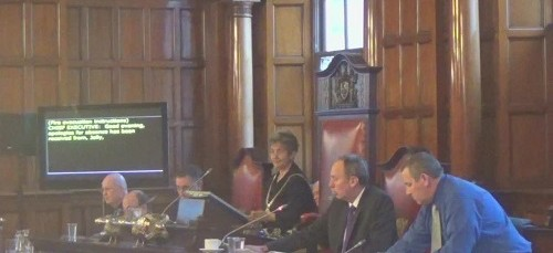 Liverpool City Council Budget Meeting 4th March 2015 showing the screen used for a live transcript of the meeting