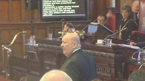 Liverpool City Council Budget Meeting 4th March 2015 Mayor Joe Anderson speaks on Labour's budget