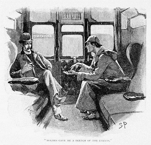Sherlock Holmes and Dr Watson on a train
