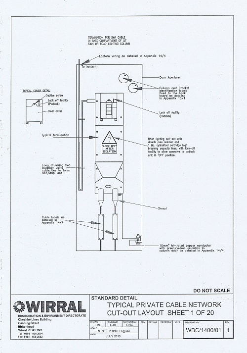 Bam Nuttall contract drawings of one of the twenty different designs for wiring for one of Wirral Council's streetlights thumbnail