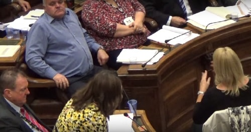 Councillor Janette Williamson responds to a question from Cllr Jeff Green at the Wirral Council meeting of the 12th October 2015 about UNISON