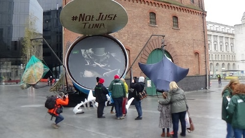 Greenpeace protest outside Mann Island Liverpool about John West and tuna fishing 28th October 2015