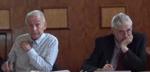 Rt Hon Frank Field MP (Chair) and Ken Abraham (solicitor (Wirral Council)) at the meeting of the Birkenhead Constituency Committee on the 8th October 2015