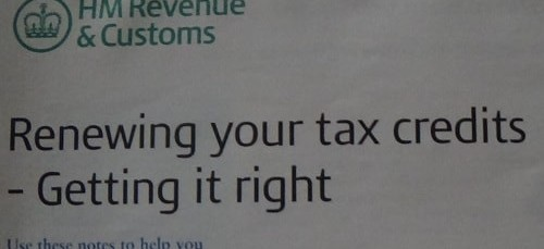 "HRMC tax credits slogan ""Renewing your tax credits - getting it right"""