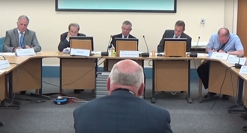 Cllr Chris Blakeley addressing Wirral Council Regeneration and Environment committee about a new fire station in Saughall Massie September 2015