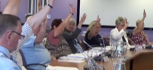 Councillors on Merseyside Fire and Rescue Authority (30th June 2015) voting in favour of closure of Upton and West Kirby fire stations and asking Wirral Council for the land and planning permission for a new fire station in Saughall Massie