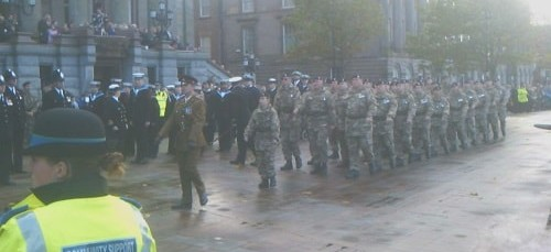 Remembrance Sunday 2012 at the War Memorial Birkenhead Hamilton Square