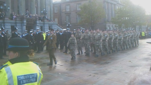 Remembrance Day 2012 outside Birkenhead Town Hall. If the traffic scheme goes ahead then this area outside Birkenhead Town Hall won't be solely for pedestrians but will be open to two-way road traffic