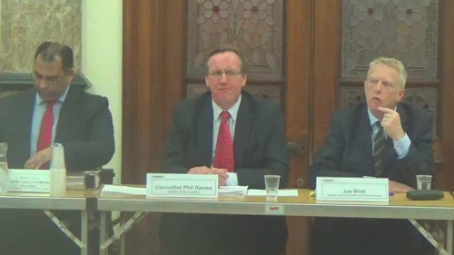 Wirral Council Cabinet meeting at Birkenhead Town Hall Thursday 12th March 2015 Left to right Surjit Tour, Cllr Phil Davies and Joe Blott