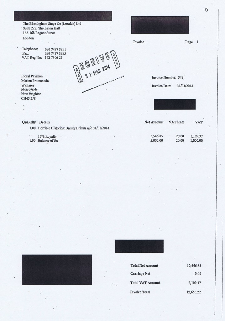 Wirral Council invoice 10 Horrible Histories Barmy Britain £12656.22