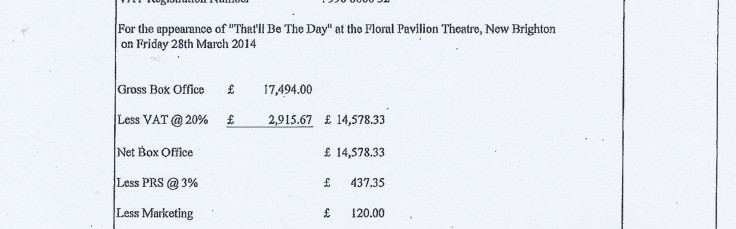Wirral Council invoice 14 Derek Block Concert Promotions That'll Be The Day £1673.16