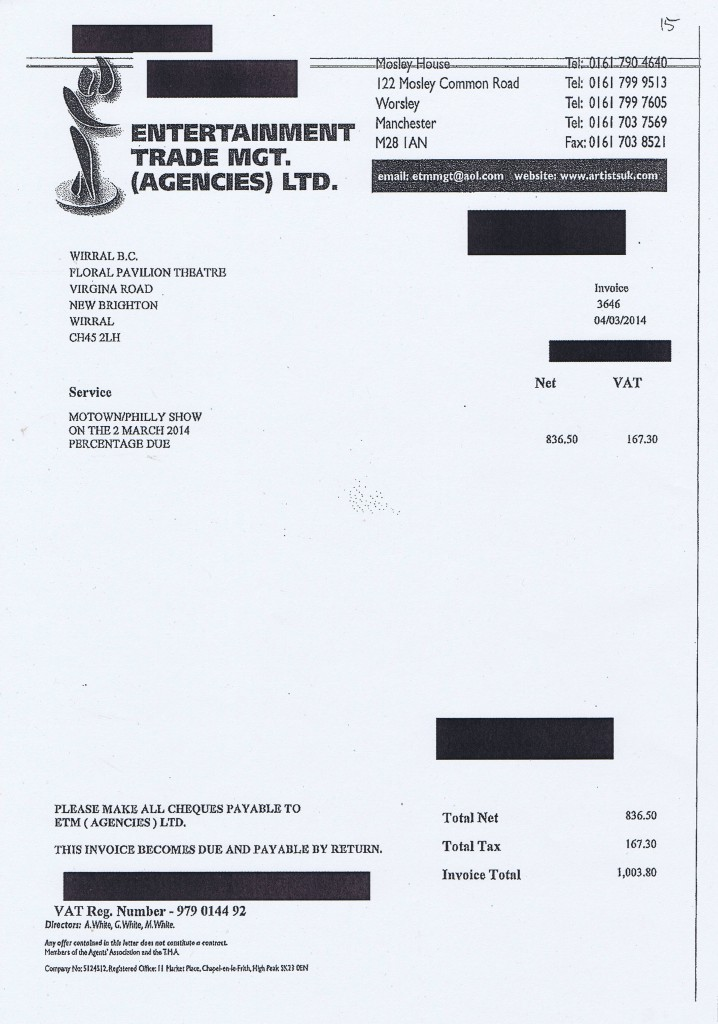 Wirral Council invoice 15 Entertainment Trade Mgt Agencies Ltd Motown Philly Show £1003.80