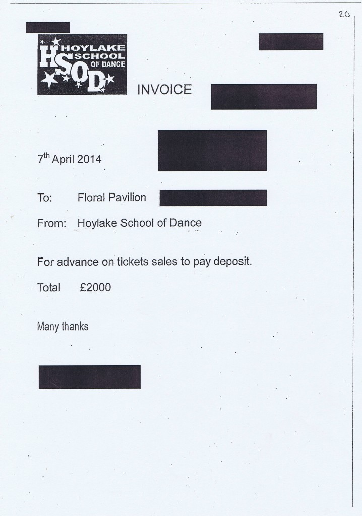 Wirral Council invoice 20 Hoylake School of Dance £2000