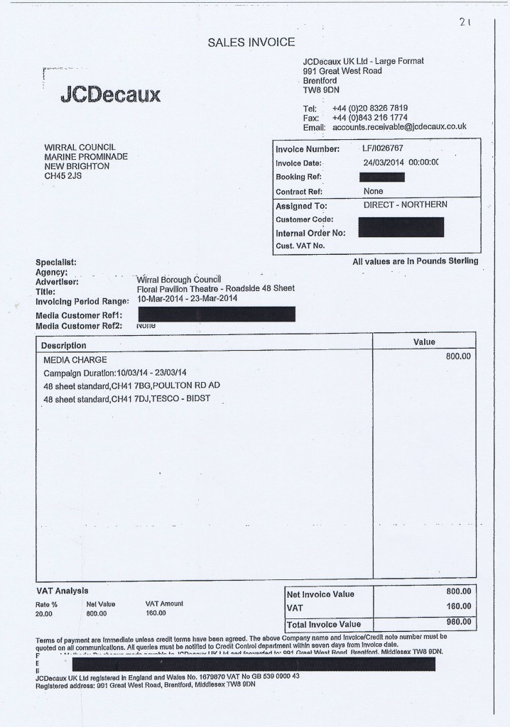 Wirral Council invoice 21 JCDecaux media charge £980