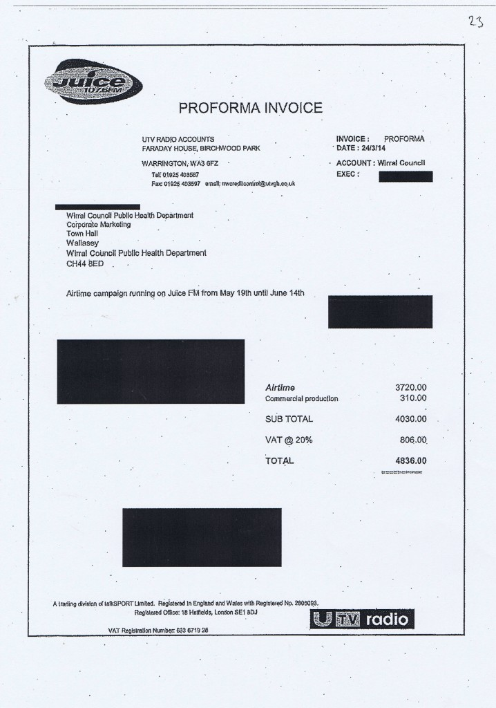 Wirral Council invoice 23 Juice 107 6 FM public health campaign £4836