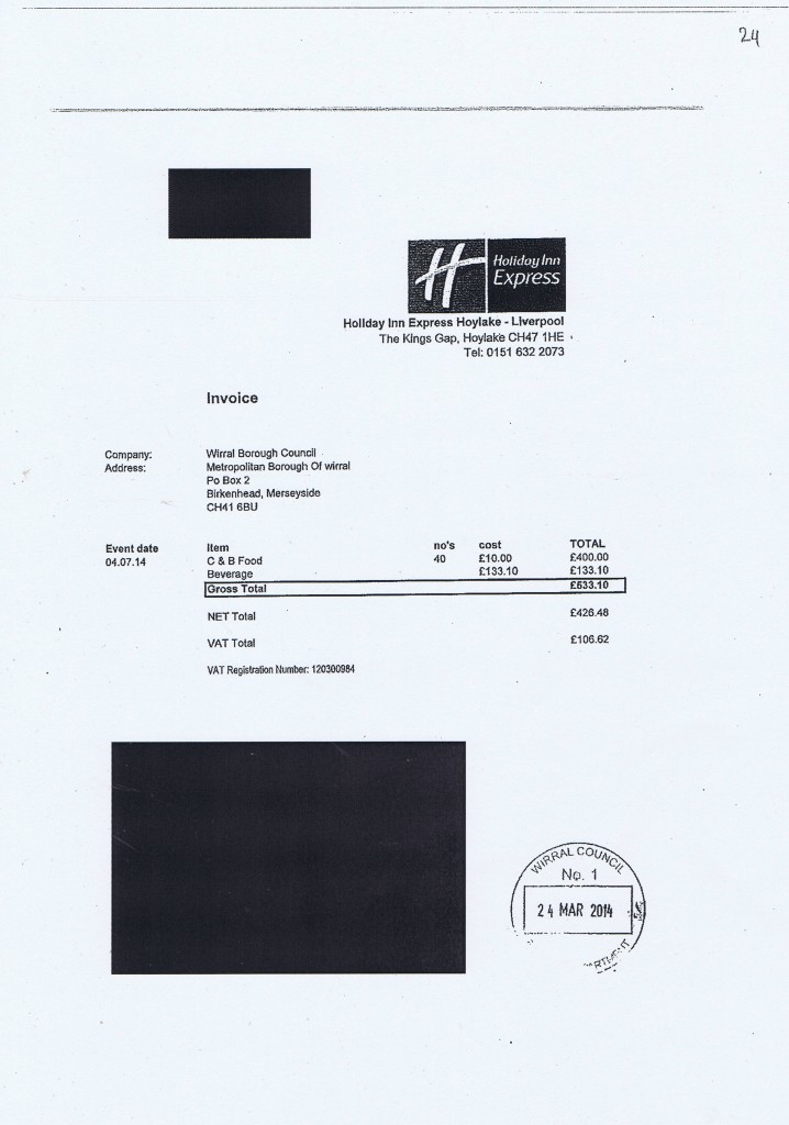Wirral Council invoice 24 Holiday Inn Express food and beverage £533.10