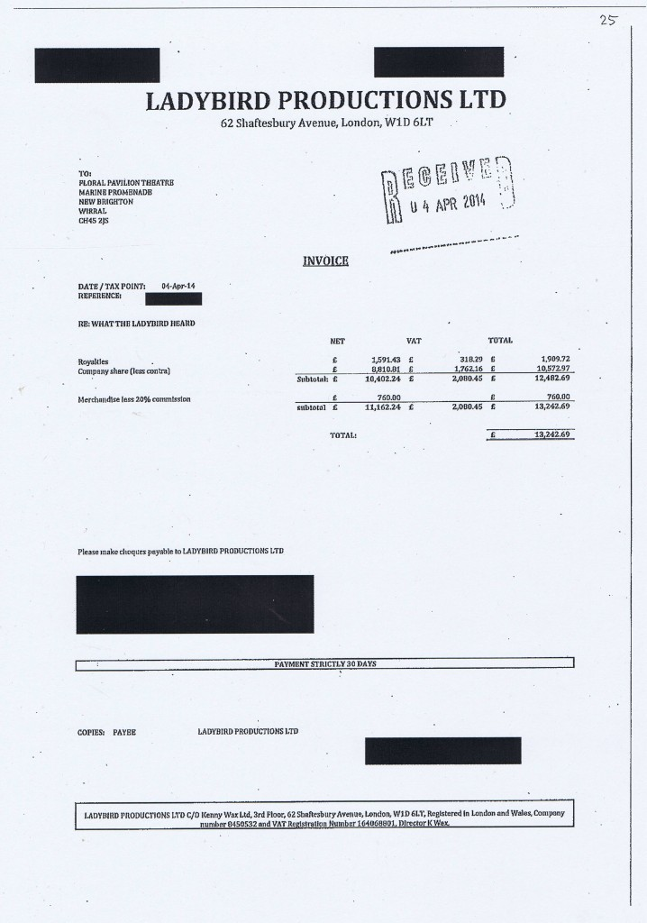 Wirral Council invoice 25 Ladybird Productions Ltd £13,242.69