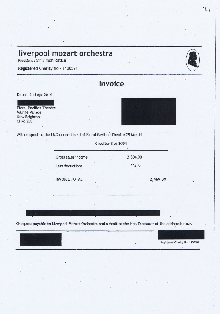 Wirral Council invoice 27 Liverpool Mozart Orchestra £2,469.39