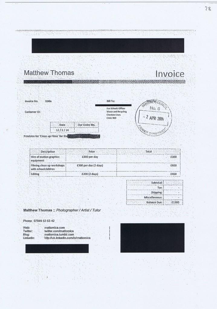 Wirral Council invoice 28 Matthew Thomas £1300