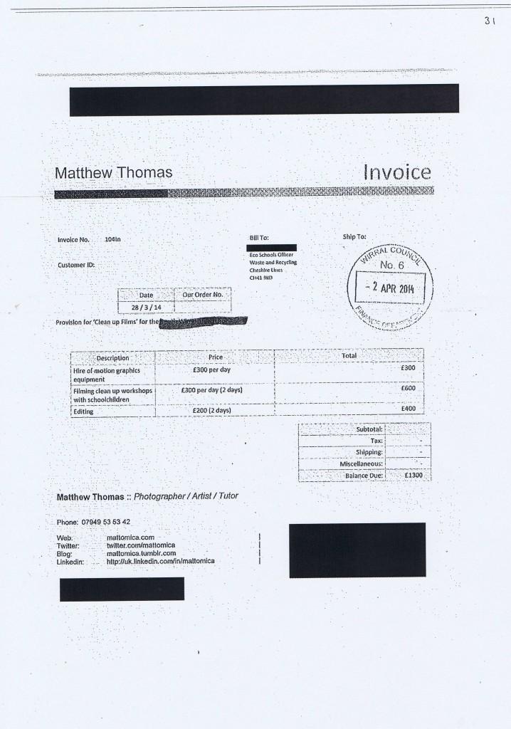 Wirral Council invoice 31 Matthew Thomas £1300