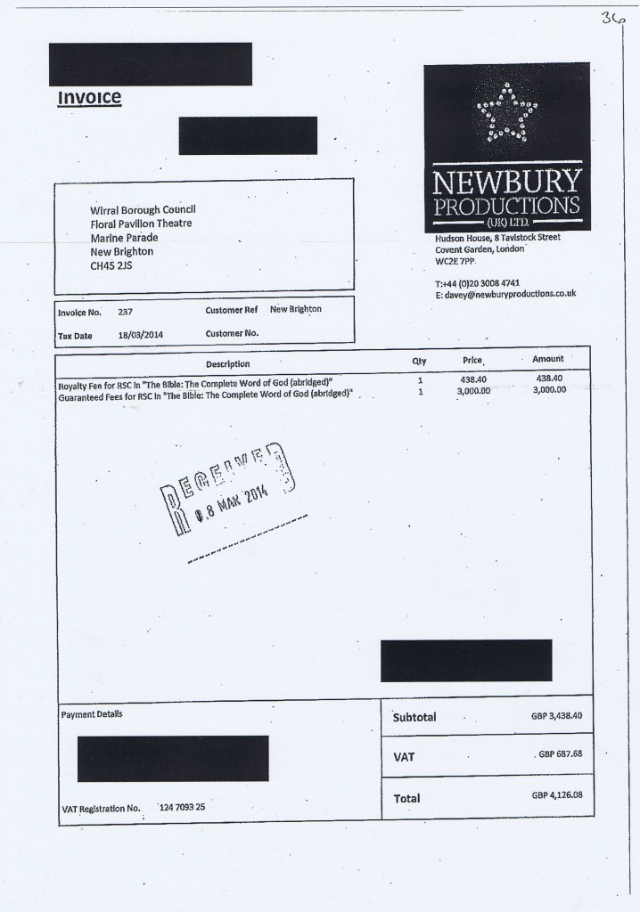 Wirral Council invoice 36 Newbury Productions (UK) Ltd £4,126.08