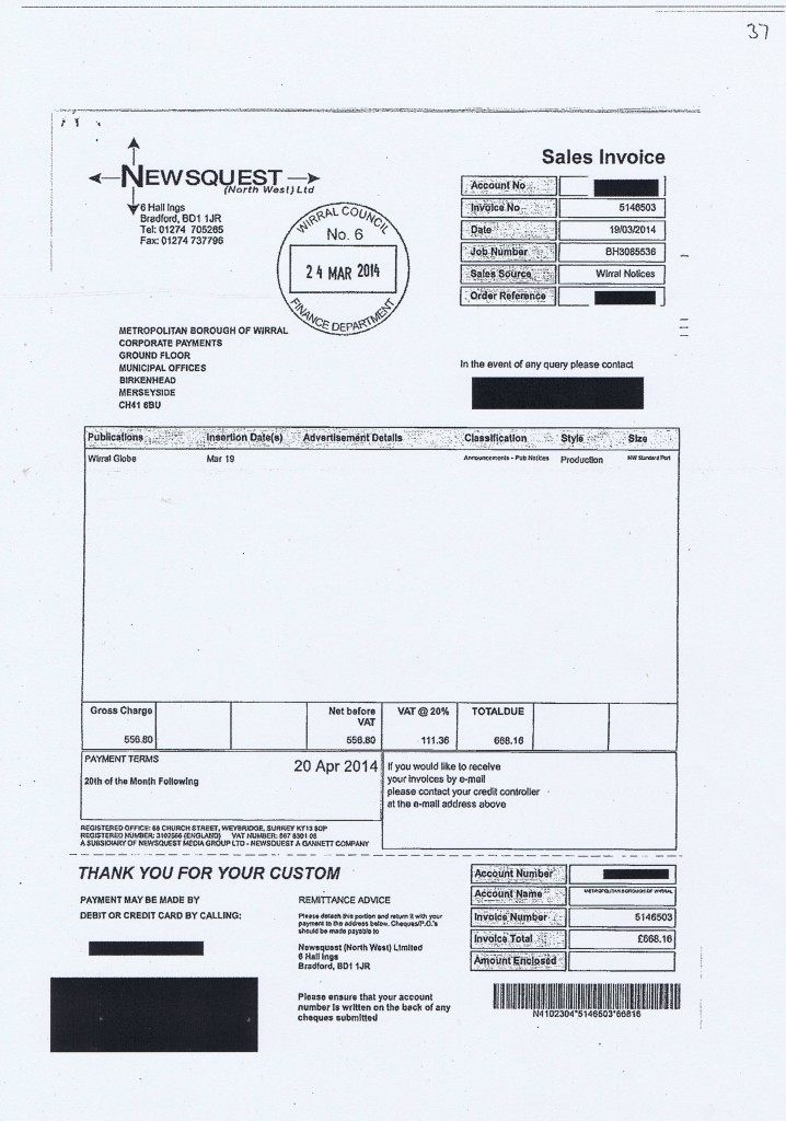 Wirral Council invoice 37 Newsquest (North West) Ltd £668.16