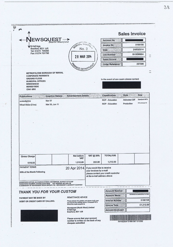 Wirral Council invoice 38 Newsquest (North West) Ltd £1,212