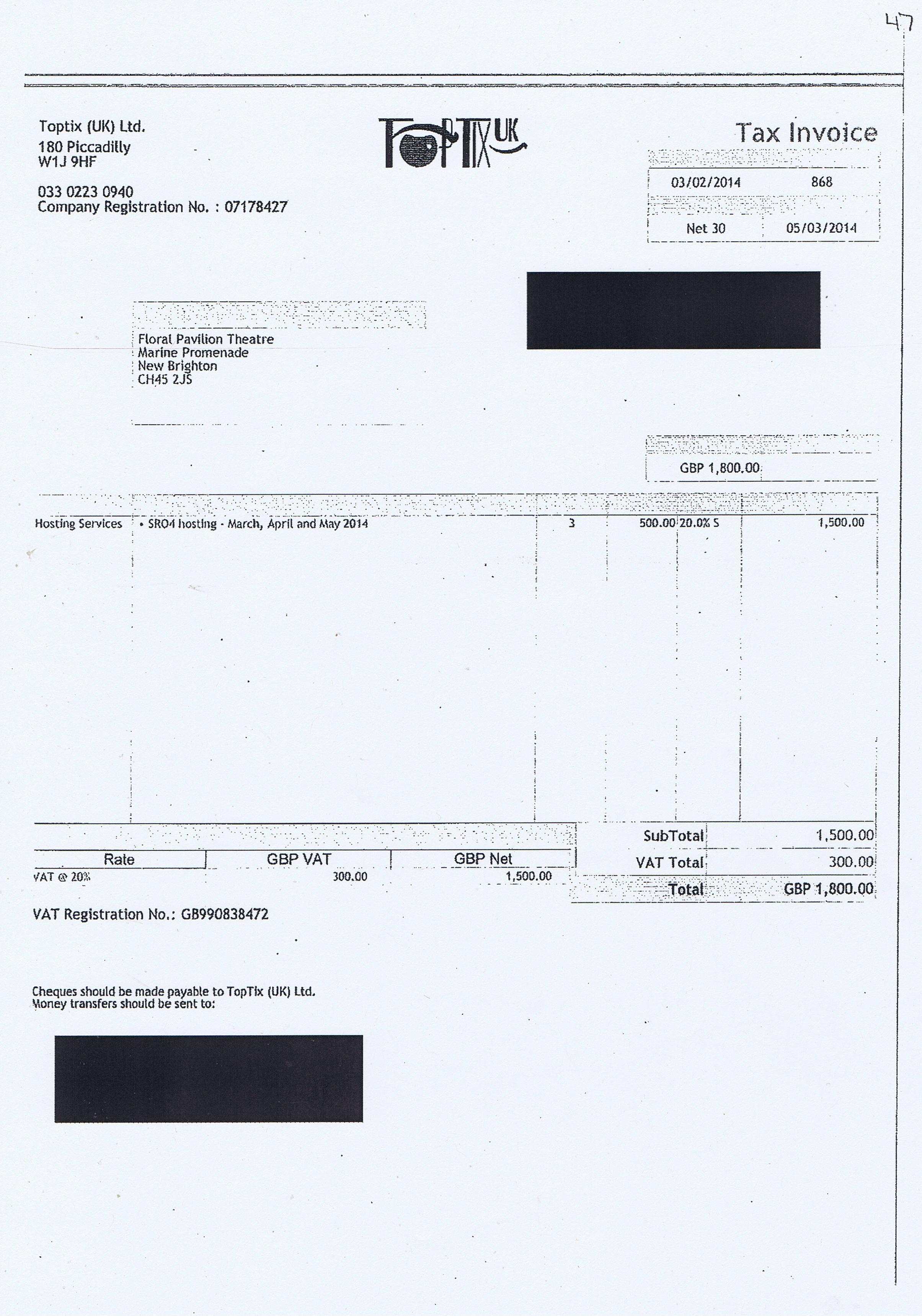 Wirral Council invoice 47 Toptix (UK) Ltd £1800