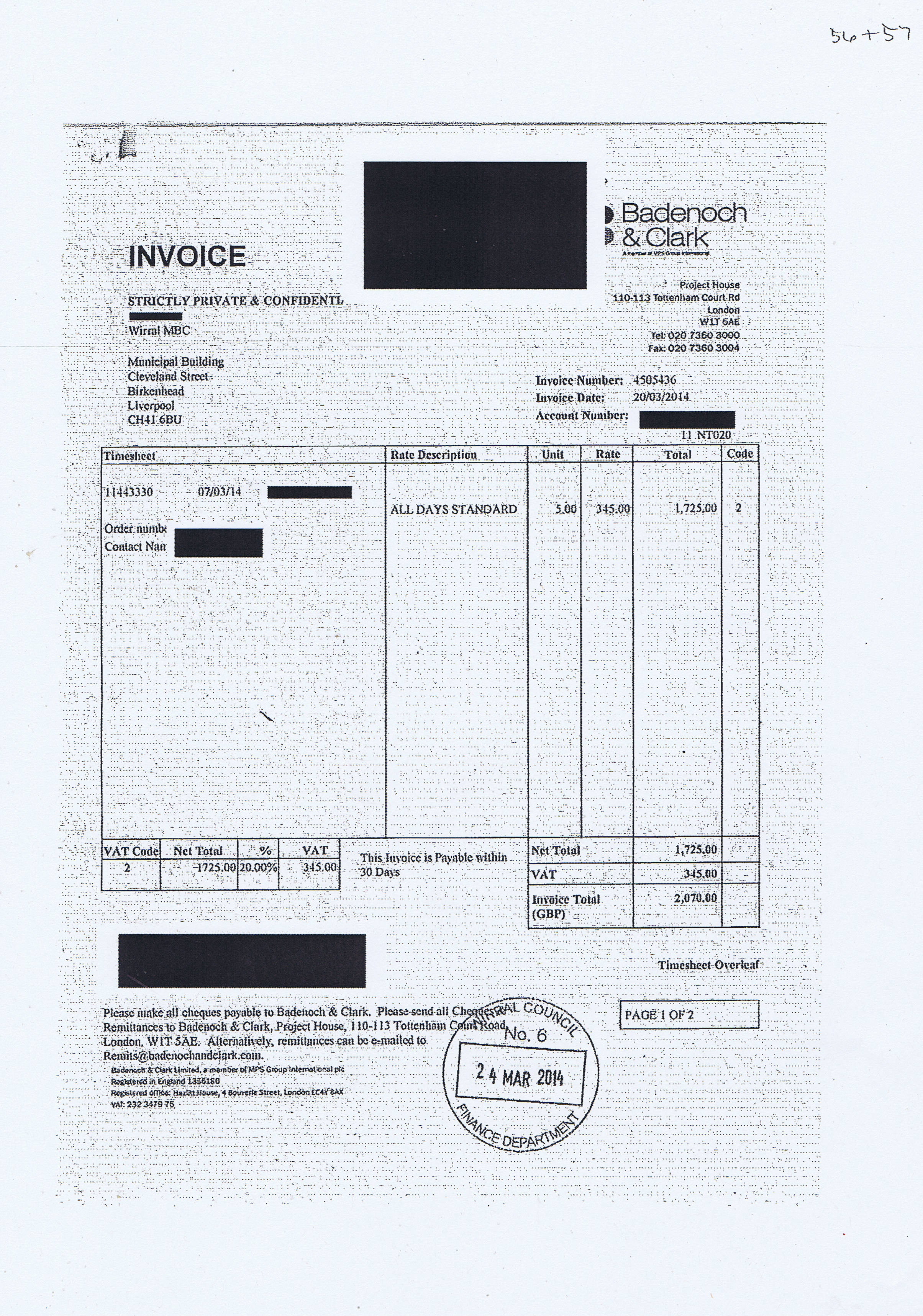 Wirral Council invoice 56 and 57 Badenoch & Clark £2070