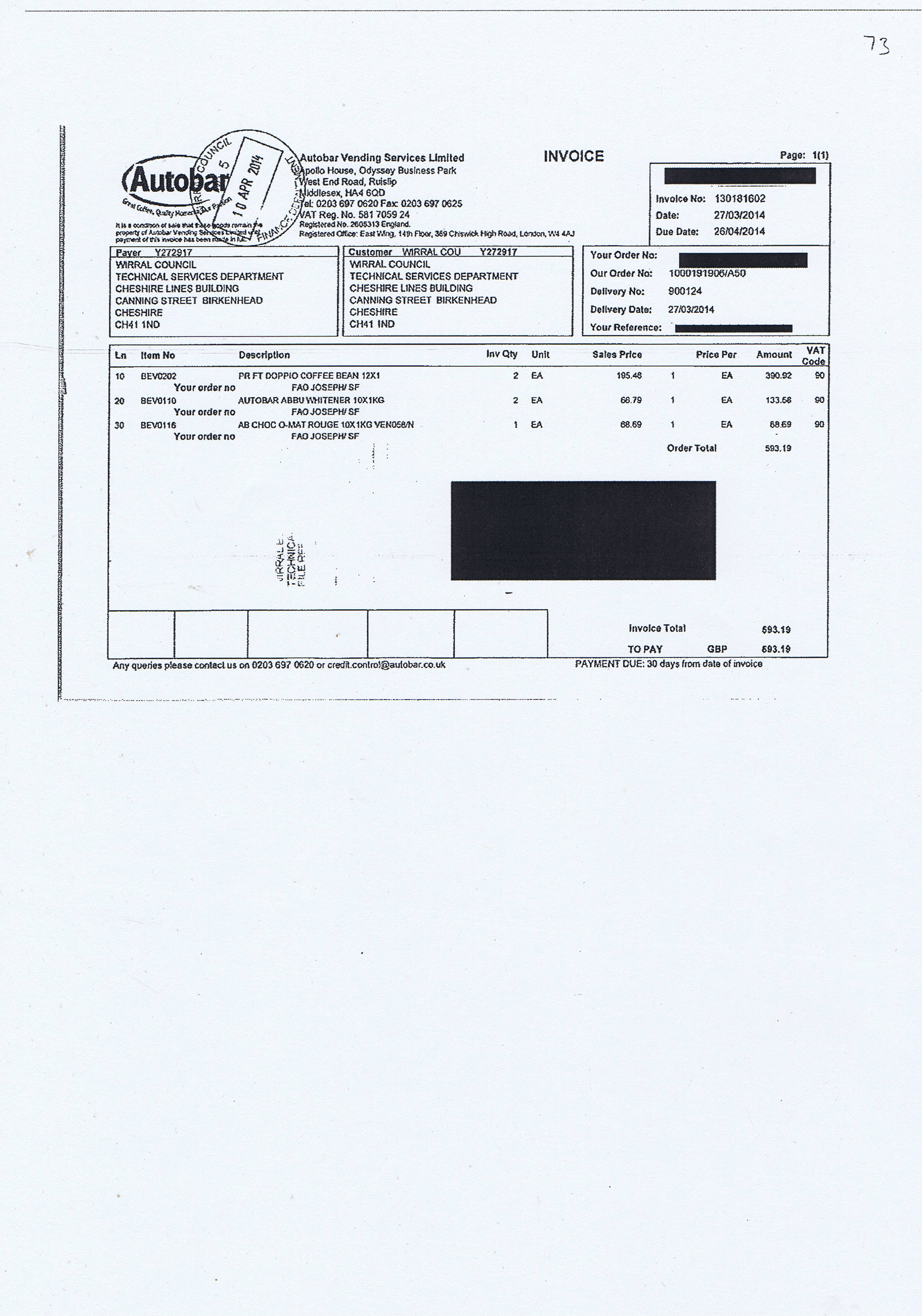 Wirral Council invoice 73 Autobar Vending Services Limited £593.19