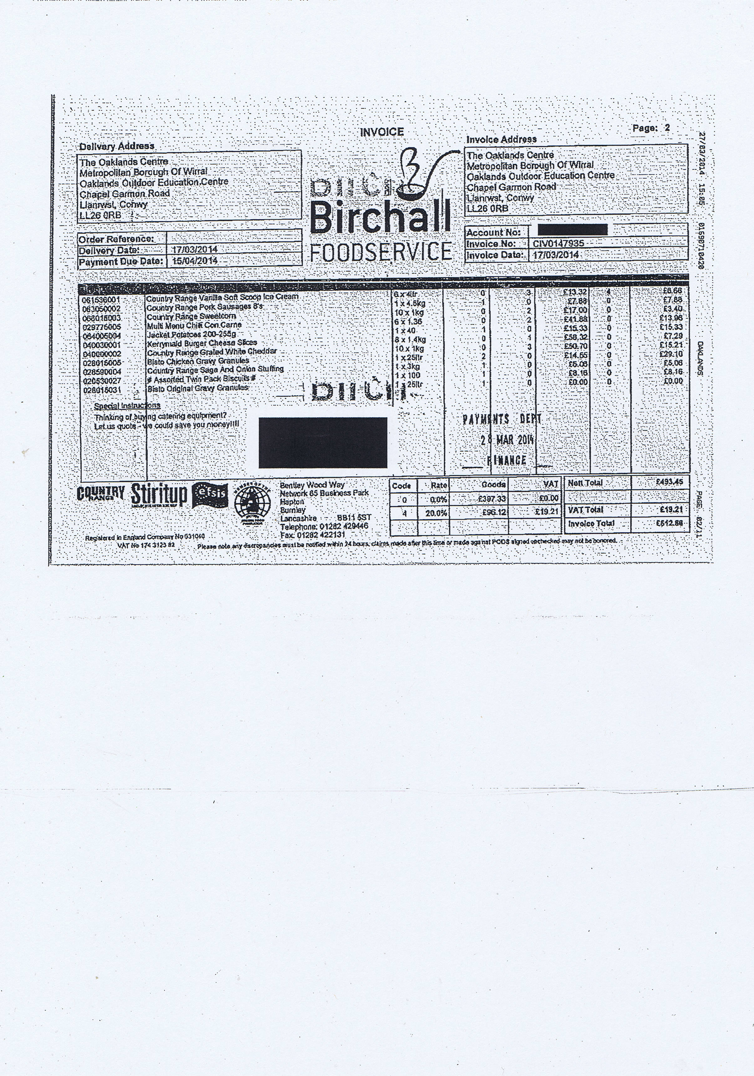 Wirral Council invoice 74 Birchall Foodservice £512.86 page 2 of 2