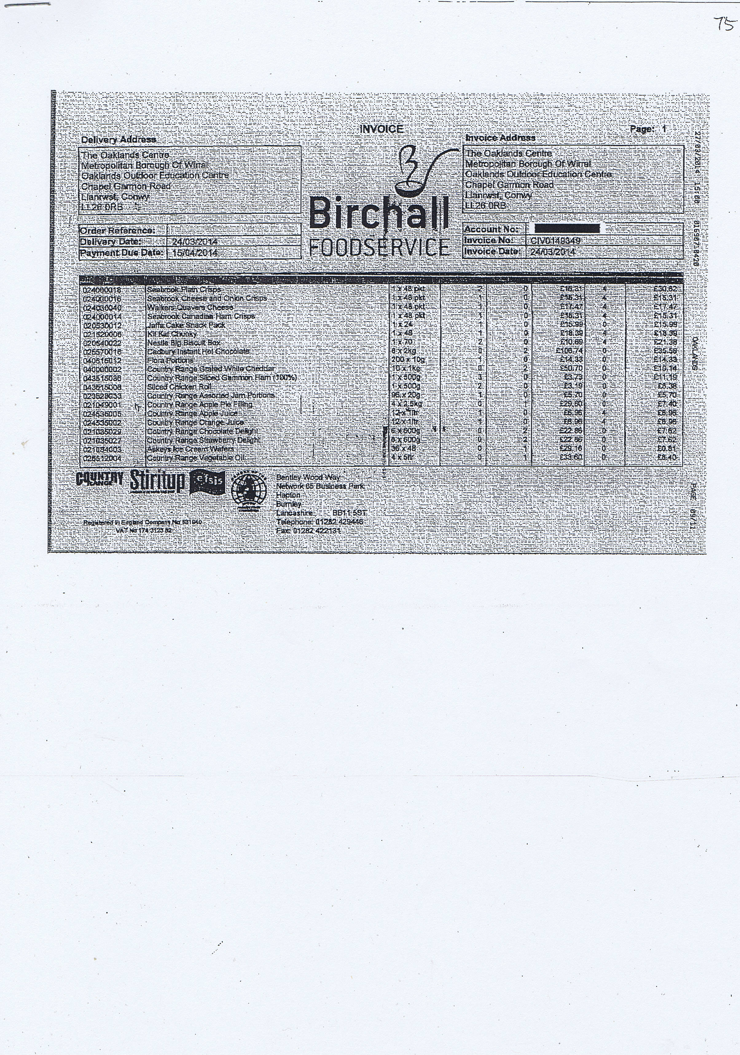 Wirral Council invoice 75 Birchall Foodservice £568.94 page 1 of 3