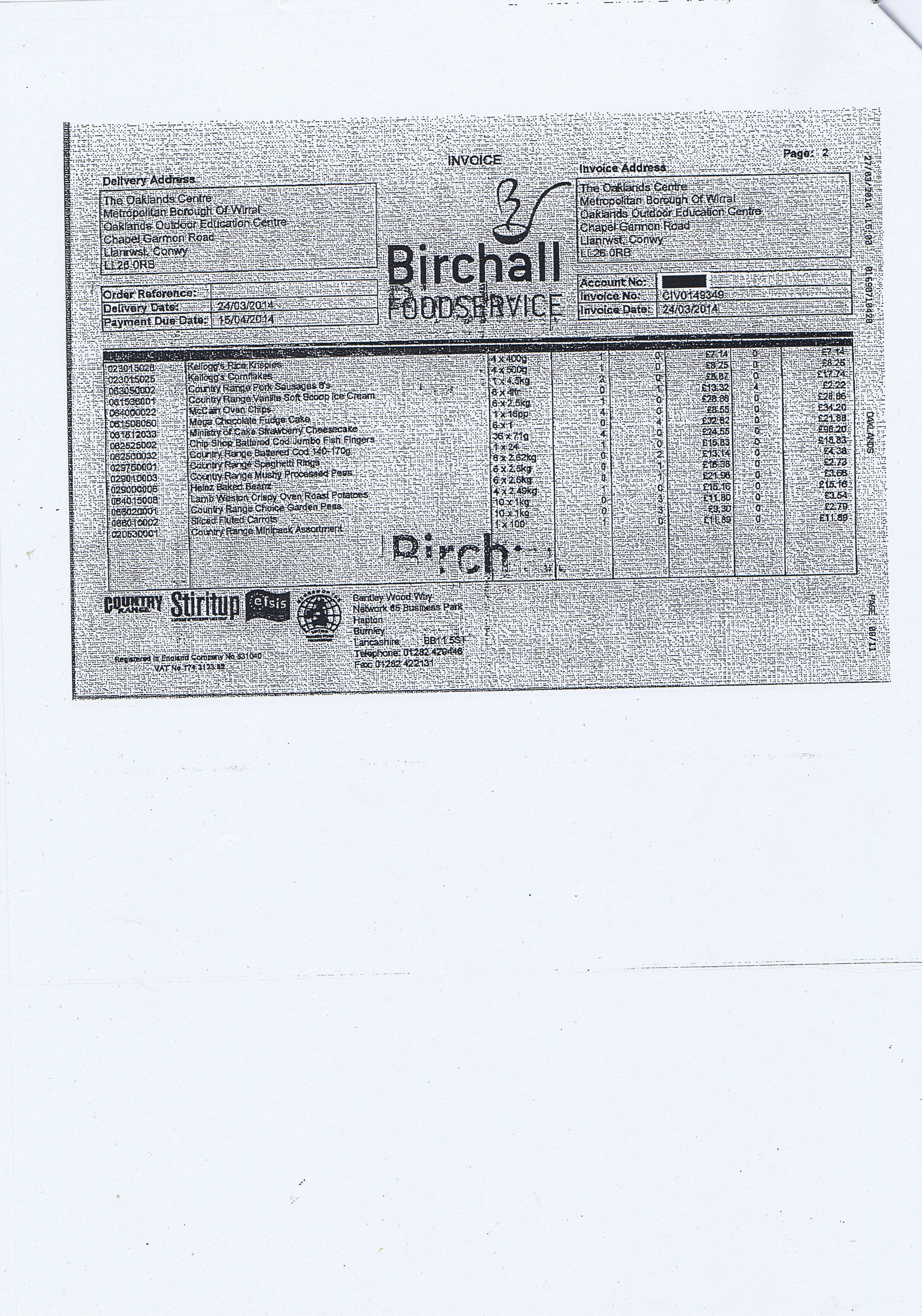 Wirral Council invoice 75 Birchall Foodservice £568.94 page 2 of 3