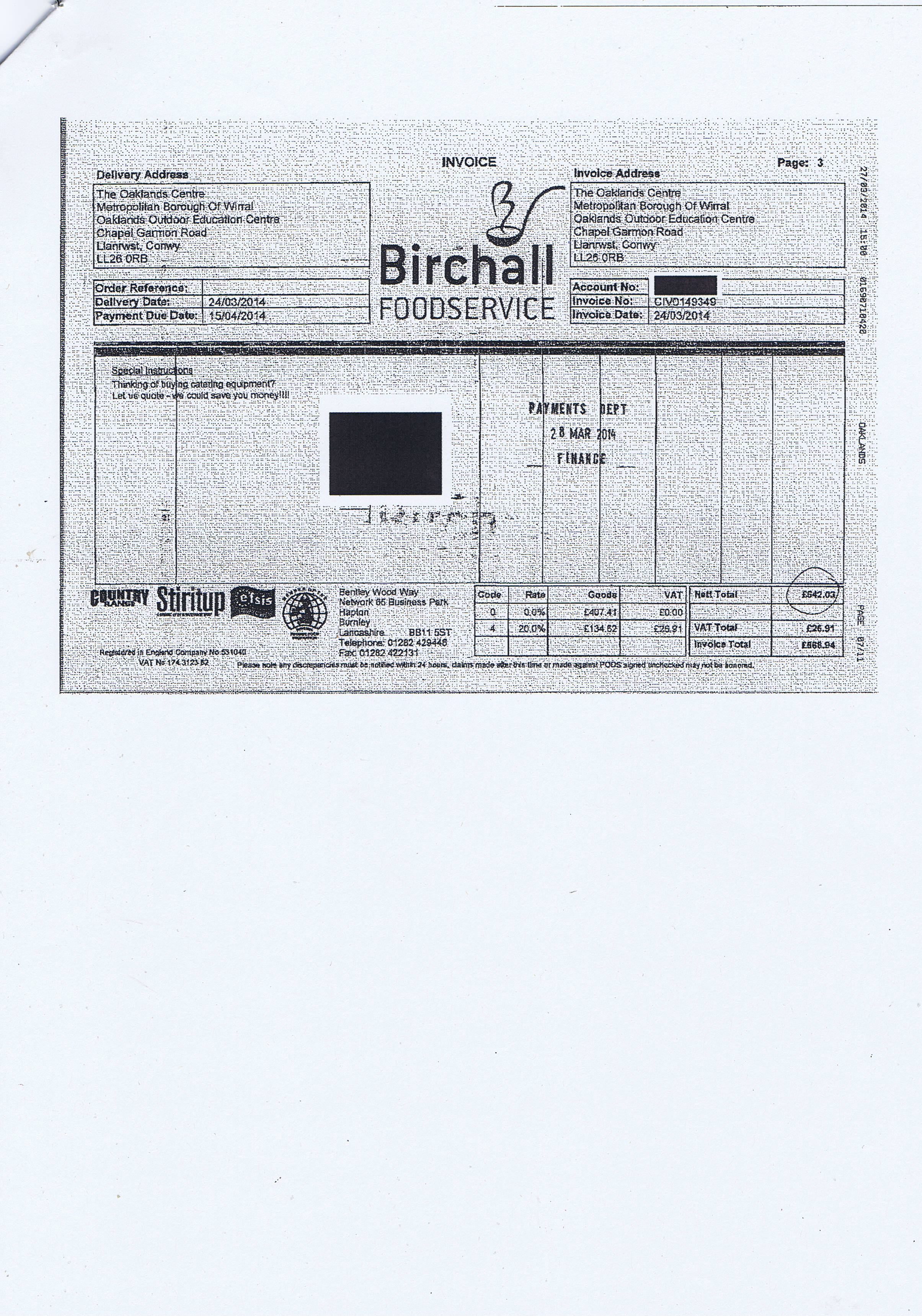 Wirral Council invoice 75 Birchall Foodservice £568.94 page 3 of 3